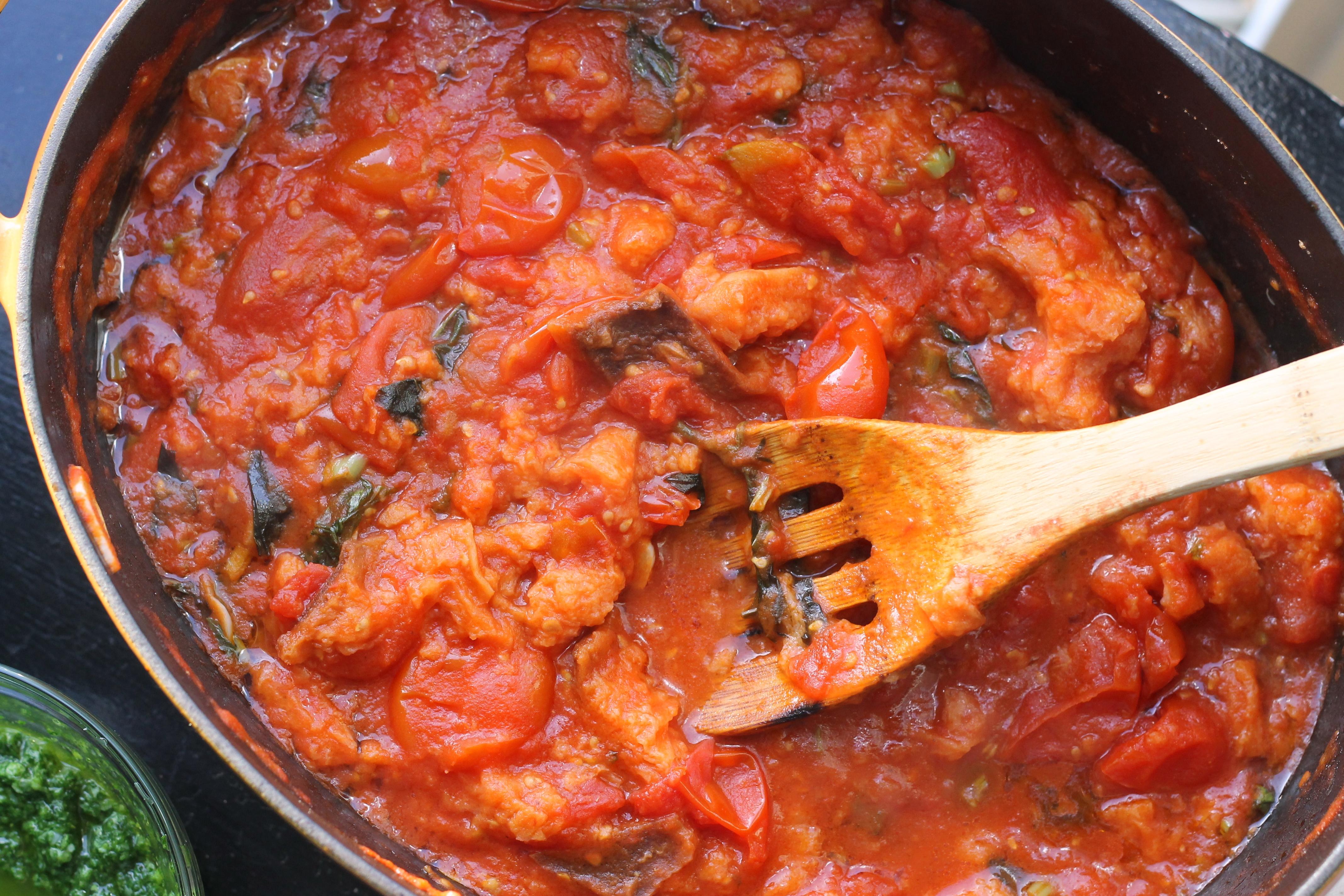 Tomato Bread Soup with Arugula Pesto