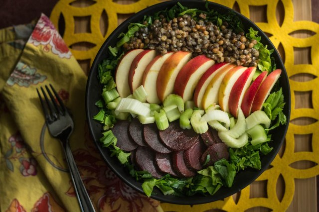 Lentil Beet and Apple Salad | becausefoodislife.com