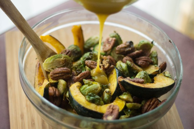 Roasted Acorn Squash and Brussel Sprouts with a Maple Mustard Sauce | becausefoodislife.com