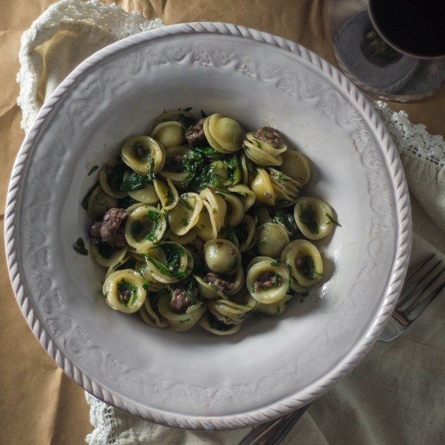 Greens and Sausage with Orcchiette | becausefoodislife.com