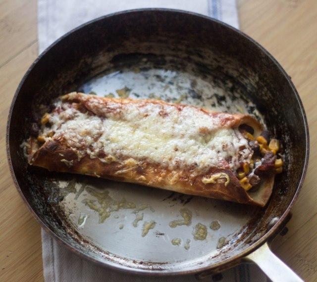 Super Quick Pumpkin Enchiladas for One | becausefoodislife.com
