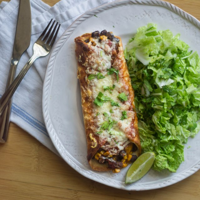Super Quick Pumpkin Enchiladas for One | becausefoodislife.com