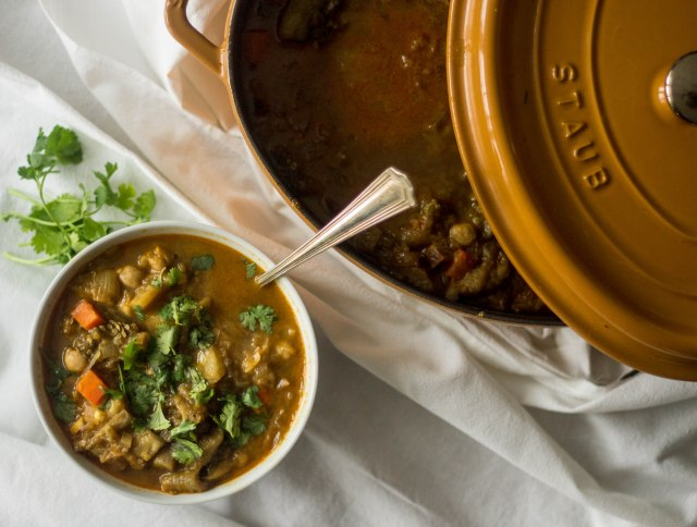 A hearty curried eggplant soup is the perfect meal to get through cold January nights | becausefoodislife.com