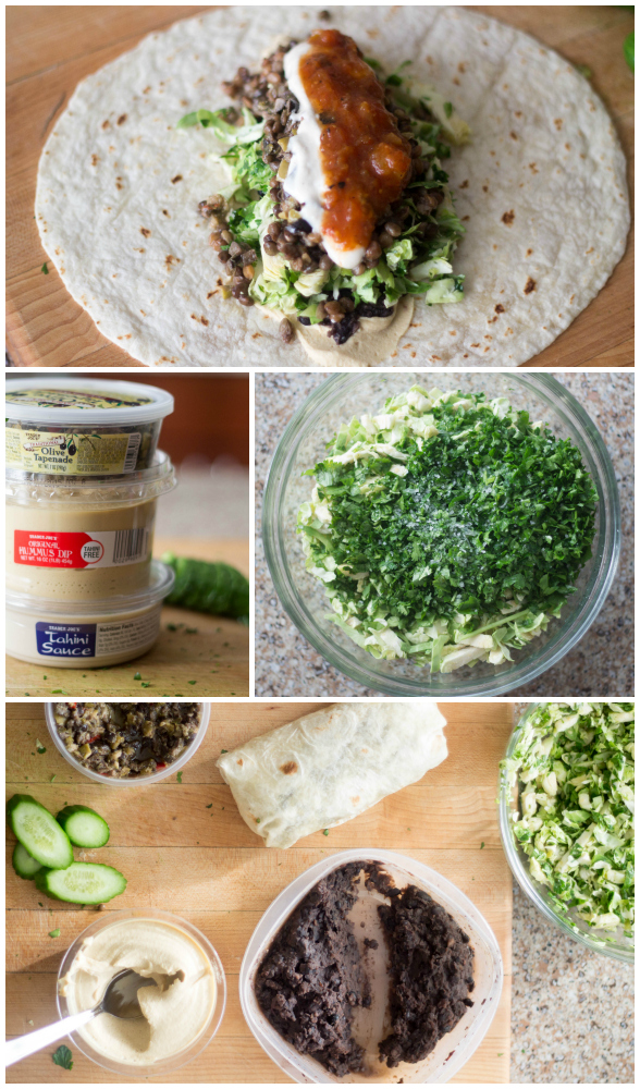 You can find all of the ingredients, including hummus, tahini sauce, cooked lentils, and olive tapenade for these 15 minute burritos at your local Trader Joe's | becausefoodislife.com