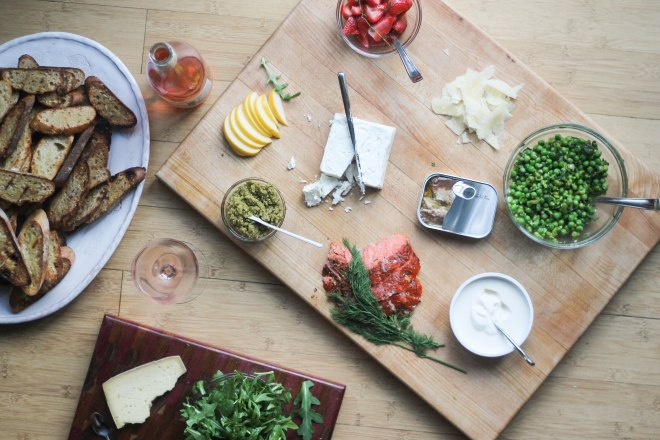 A bruschetta bar for spring. Two embarrassingly simple recipes and otherwise all things you can pick up at the store. | becausefoodislife.com